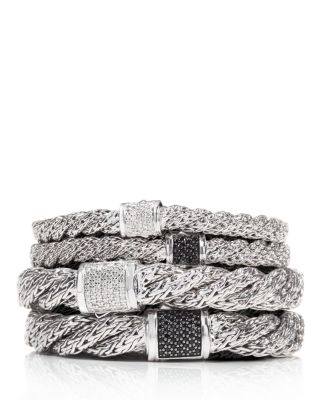 Classic Chain Sterling Silver Lava Extra Small Flat Twisted Chain Bracelet with Black Sapphire