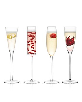 LSA - Lulu Assorted Champagne Flutes, Set of 4