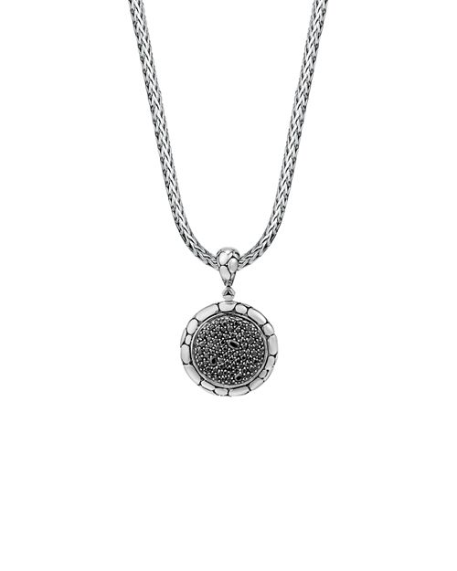 John Hardy - Sterling Silver Kali Lavafire Medium Round Enhancer with Black Sapphires