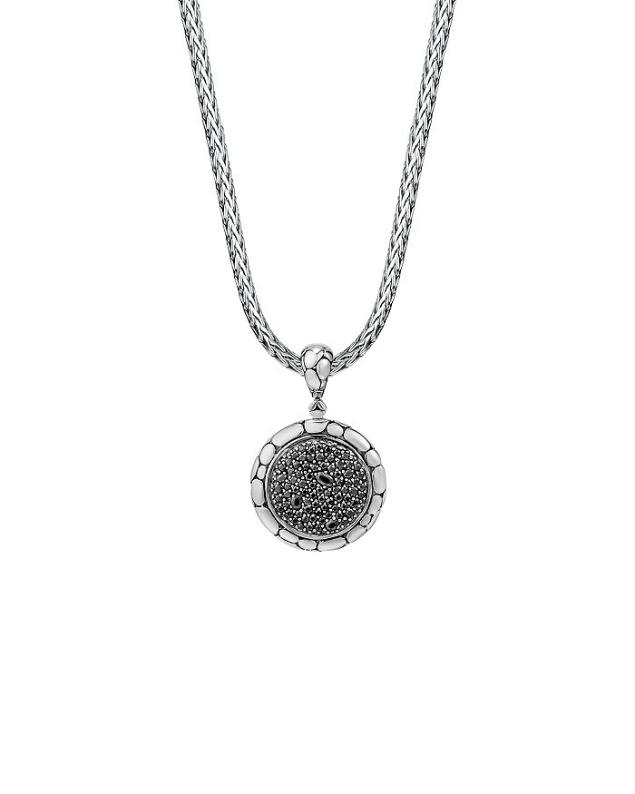 JOHN HARDY - Sterling Silver Kali Lavafire Medium Round Enhancer with Black Sapphires