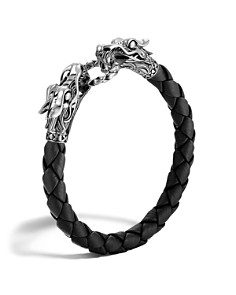 JOHN HARDY - Men's Naga Silver Black Woven Leather Dragon Bracelet