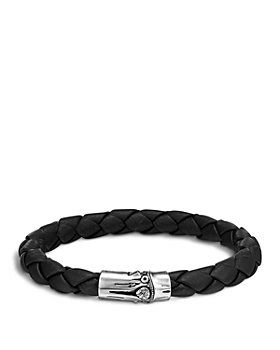 JOHN HARDY - Men's Bamboo Silver Black Woven Leather Bracelet
