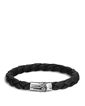 John Hardy - Men's Bamboo Silver Black Woven Leather Bracelet