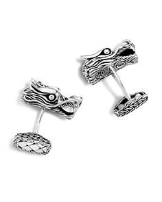 JOHN HARDY - Men's Naga Silver Dragon Head Cufflinks