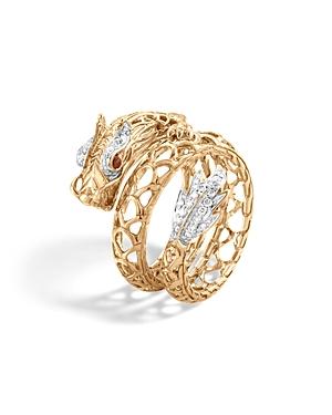 John Hardy 18K Gold Naga Diamond Pave Dragon Coil Ring with African Ruby Eyes