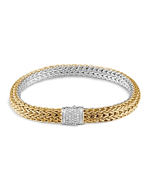 John Hardy Classic Chain 18K Gold and Sterling Silver Small Reversible Bracelet with Pave Diamonds