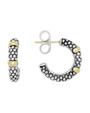 Lagos 18K Gold and Sterling Silver Caviar Beaded Hoop Earrings
