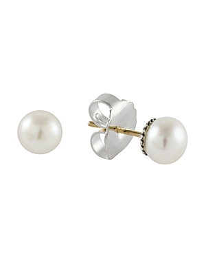 Lagos Sterling Silver Luna Fluted Button Post Pearl Earrings, 8mm