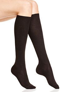 HUE Flat Knit Knee Socks - Bloomingdale's_0