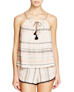 GYPSY05 SAND Embroidered & Gathered Top Swim Cover-Up in Cameo Ivory