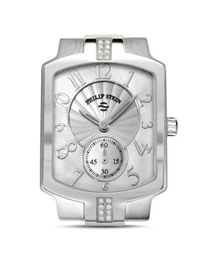 PHILIP STEIN Classic Sport Small Diamond And Mother Of Pearl Watch Head, 27Mm in Silver