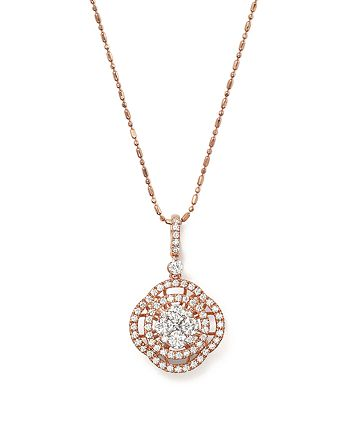 Bloomingdale's - Diamond Cluster Pendant Necklace in 14K Rose Gold, 1.0 ct. t.w.- 100% Exclusive