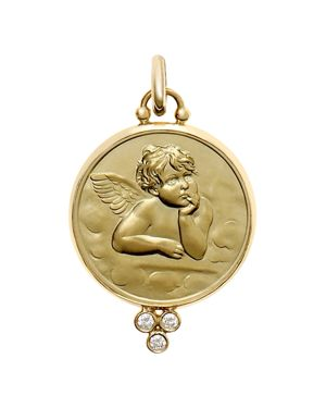 Temple St. Clair 18K Yellow Gold Angel Pendant with Diamonds