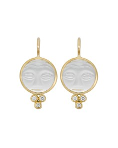Temple St Clair 18k Yellow Gold Moonface Earrings With Rock Crystal And Diamond Granulation