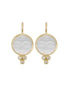 Temple St. Clair - Temple St. Clair 18K Yellow Gold Moonface Earrings with Rock Crystal and Diamond Granulation