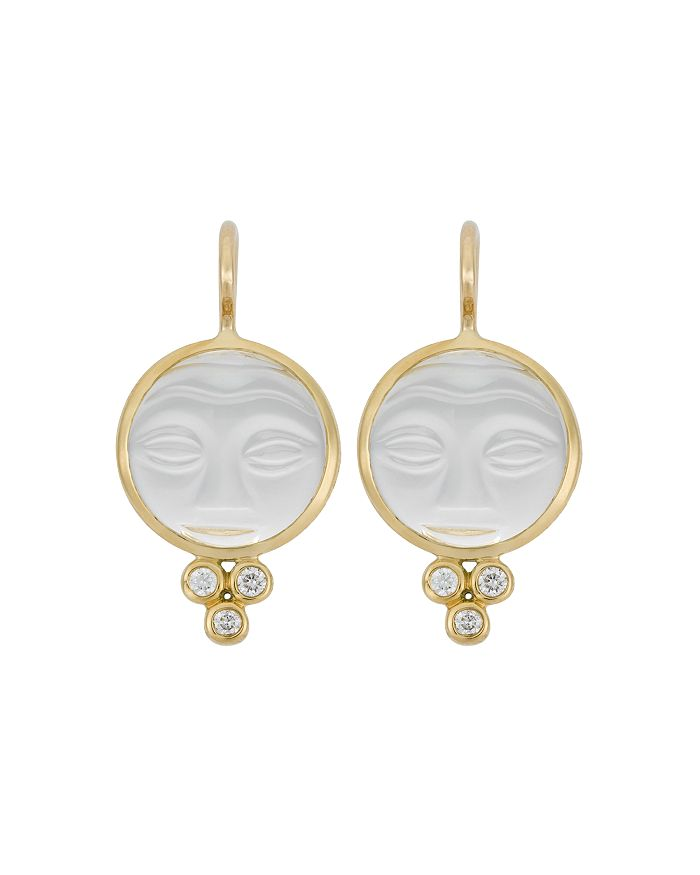 Temple St. Clair - 18K Yellow Gold Moonface Earrings with Rock Crystal and Diamond Granulation