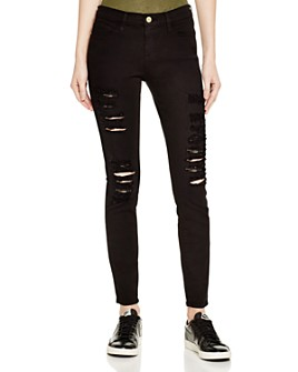 FRAME - Le Color Ripped Jeans in Film Noir