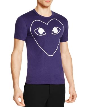 Comme Des Garcons Play Outline Heart Graphic Tee