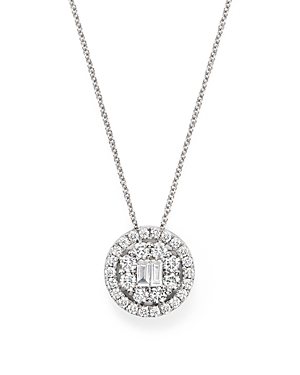 Diamond Baguette and Round Halo Pendant Necklace in 18K White Gold, .90 ct. t.w. - 100% Exclusive