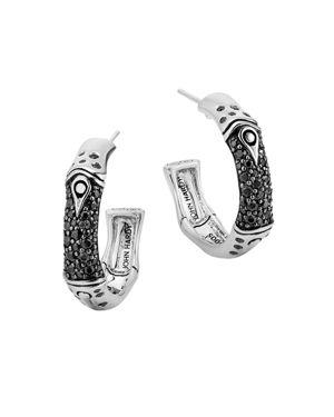 John Hardy Sterling Silver Bamboo Black Sapphire Lava Hoop Earrings