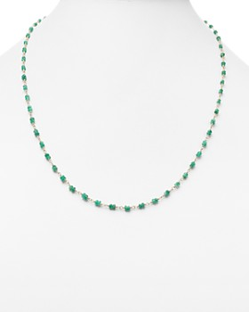 Temple St. Clair - 18K Gold Karina Necklace with Emerald, 24""
