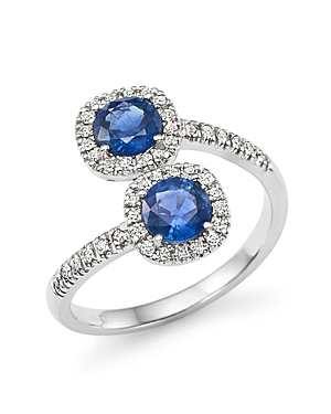 Diamond and Sapphire Two-Stone Halo Wrap Ring in 14K White Gold - 100% Exclusive
