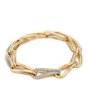 John Hardy Bamboo 18K Gold and Diamond Link Bracelet