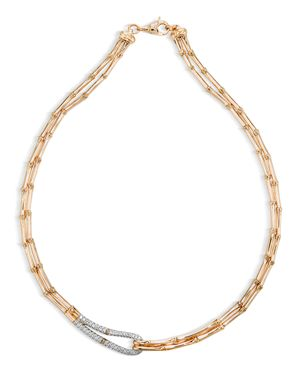 John Hardy Bamboo 18K Gold and Diamond Necklace, 16