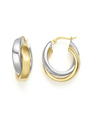 14K Yellow and White Gold Bold Dual Hoop Earrings - 100% Exclusive