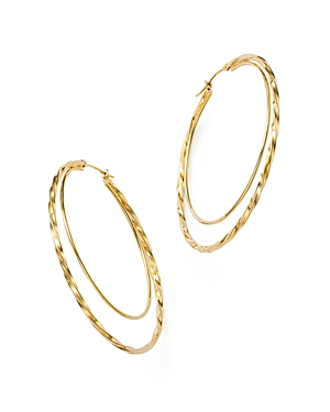 14K Yellow Gold Round Double Hoop Earrings - 100% Exclusive