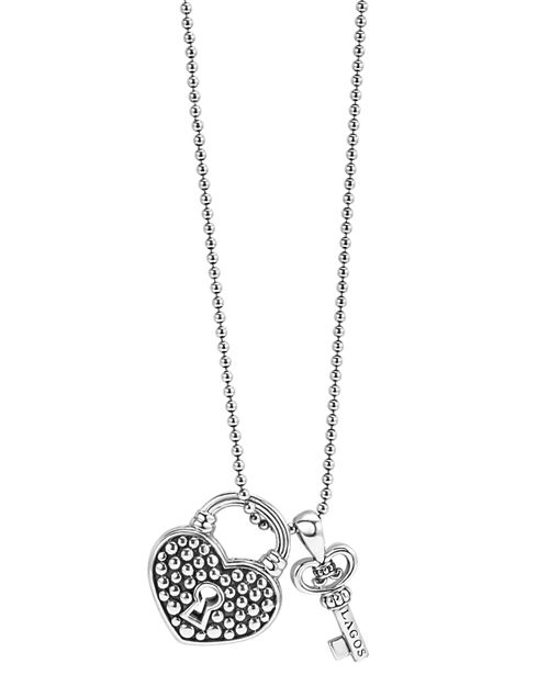"LAGOS - Sterling Silver Beloved Heart Lock & Key Pendant Necklace, 16""-18"""