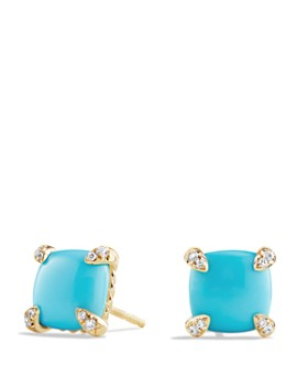 David Yurman - Châtelaine Earrings with Turquoise and Diamonds in 18K Gold