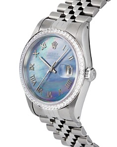 Pre-Owned Rolex - Stainless Steel and 18K White Gold Datejust Watch with Dark Mother-of-Pearl Dial and Diamond Bezel, 36mm
