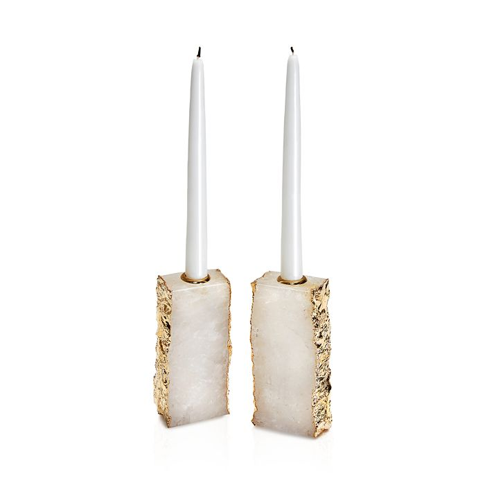 ANNA new york - Dourado Crystal & Gold Candlestick, Set of 2