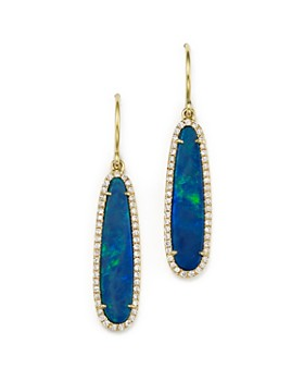 Meira T - 14K Yellow Gold Opal Earrings with Diamonds