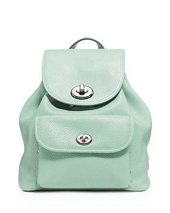 COACH - Pebble Mini Turnlock Backpack