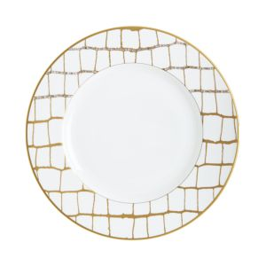 Domenico Vacca by Prouna Alligator Gold Swarovski Crystal Dinner Plate