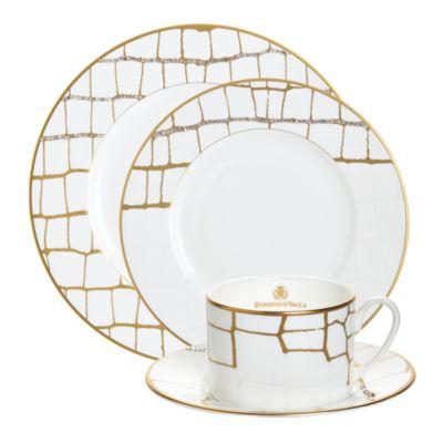 Alligator Gold Swarovski Crystal Teacup & Saucer, Set of 2