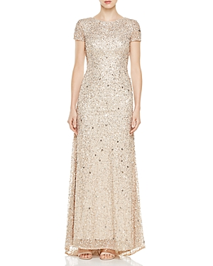 Adrianna Papell Petites Short Sleeve Beaded Gown