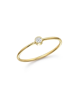 Zoe Chicco 14K Yellow Gold and Diamond Bezel Thin Ring