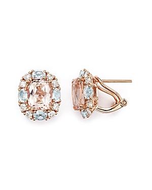 Morganite, Aquamarine and Diamond Stud Earrings in 14K Rose Gold - 100% Exclusive