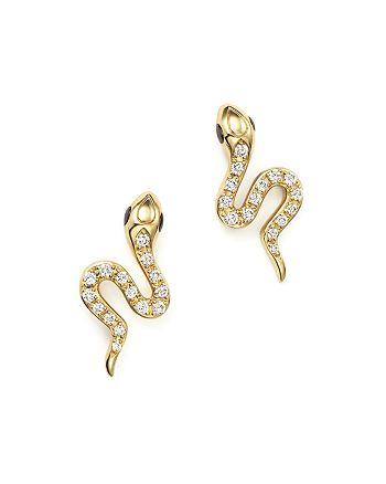 Bloomingdale S Diamond Snake Stud Earrings In 14k Yellow Gold 23 Ct T W