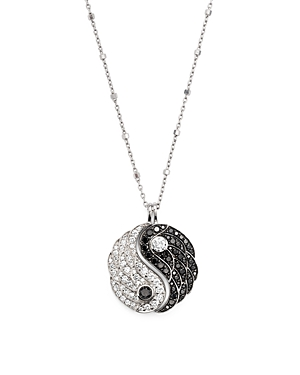 White and Black Diamond Yin and Yang Pendant Necklace in 14K White Gold, 18 - 100% Exclusive