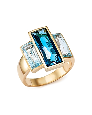 London Blue and Sky Blue Topaz Three Stone Ring in 14K Yellow Gold - 100% Exclusive