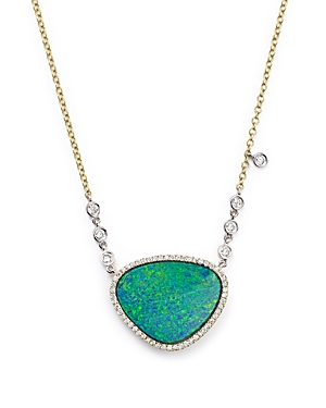 Meira T 14K Yellow Gold and Opal Necklace with Diamond by the Yard Bezel Accents, 16