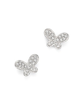 KC Designs - Diamond Butterfly Stud Earrings in 14K White Gold