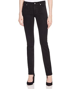 7 For All Mankind Kimmie Straight Leg Jeans in Slim Illusion Luxe Black