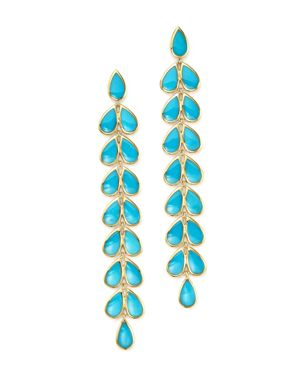Ippolita 18K Yellow Gold Rock Candy Cascade Teardrop Earrings with Turquoise
