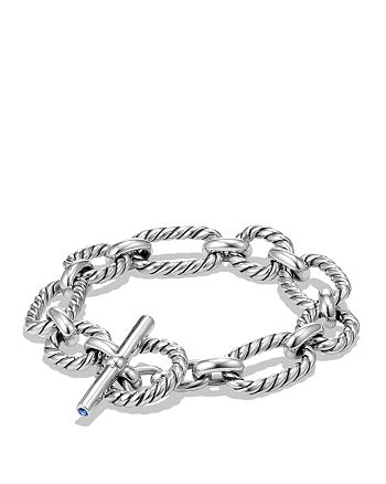 David Yurman - Chain Cushion Link Bracelet with Blue Sapphire in Sterling Silver