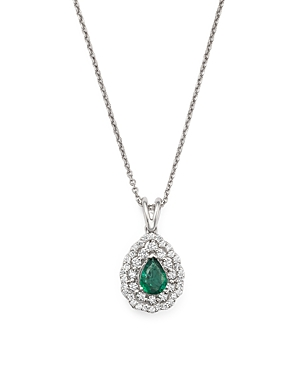 Diamond Halo and Pear Emerald Pendant Necklace in 14K White Gold, 16 - 100% Exclusive